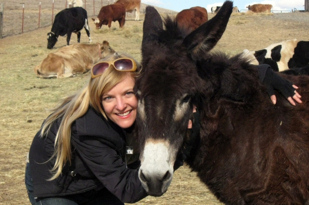 With Bonnie Burro at Farm Sanctuary