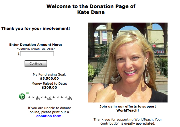 WorldTeach Fundraising Page