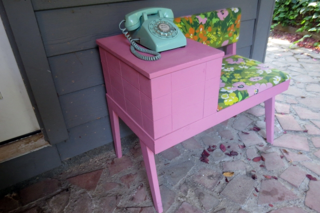 Rotary phone and Gossip Bench