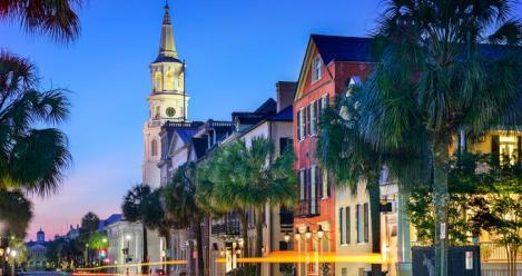 Charleston, South Carolina, USA cityscape at St. Michael's Episcopal Church.